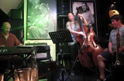 Scot Ranney, Andy Simmons, and Terrence Hsieh at Peel Fresco jazz jam in Hong Kong