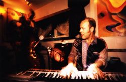 Scot Ranney playing keys with Chicos Paradise at the Howling Wolf in Aspen, Colorado